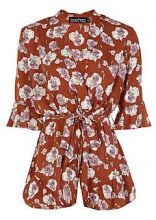 Annalise Floral Wrap And Ruffle Playsuit