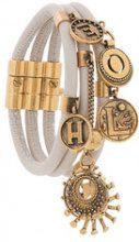 Chloé - gold-tone embellished bracelet - women - Calf Leather/Brass - S, M - Color carne & neutri