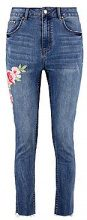 Wendy Raw Hem Floral Embroidered Skinny Jeans