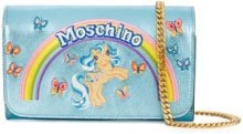 Moschino - Clutch effetto metallizzato 'My Little Pony' - women - Pony Hair - One Size - BLUE