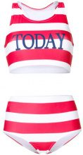 Alberta Ferretti - striped two-piece swimsuit - women - Polyester/Spandex/Elastane/Polyamide - 38, 40, 42 - RED