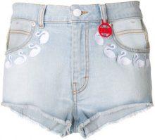 Gcds - swan denim shorts - women - Cotton/Spandex/Elastane - XS, S, M, L - BLUE