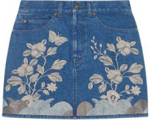 Gucci - Minigonna ricamata in denim - women - Cotone/Spandex/Elastane - 40, 42 - BLUE
