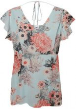 MAMA.LICIOUS Flower Printed Nursing Top, Short Sleeved Women Blue