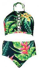 Plus sara bikini a vita alta con allacciatura e stampa tropicale