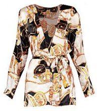 Victoria Scarf Print Tie Waist Blouse