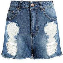 Olivia pantaloncini mom di jeans a vita alta effetto consumato