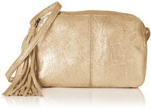 PIECES Pcmylisia Leather Cross Over Bag - Borse a tracolla Donna, Gold (Gold Colour), 4x13x19 cm (B x H T)