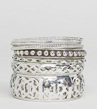 Sacred Hawk - Confezione di bracciali rigidi decorati - Argento
