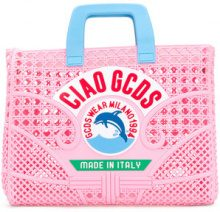 Gcds - Ciao woven tote - women - plastic - One Size - PINK & PURPLE