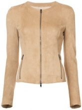 Drome - zipped fitted jacket - women - Leather - S - NUDE & NEUTRALS