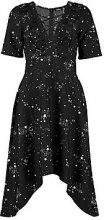 Marcie Star Cross Front Asymmetric Hem Midi Dress