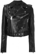 Manokhi - Giacca biker crop - women - Leather/Viscose/Polyester - 34, 36, 40 - Nero