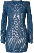 Balmain - Vestito di maglia traforato - women - Cotton - 36, 38 - BLUE