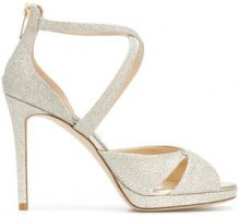 Jimmy Choo - Lorina 100 glitter sandals - women - Leather/Polyester - 35, 36, 36.5, 37, 37.5, 38, 38.5, 39, 39.5, 40, 40.5, 41, 41.5, 42 - METALLIC