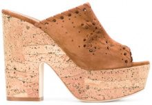 Le Silla - slip on wedges - women - Suede/Leather/Cork - 37, 38.5, 39, 40 - BROWN