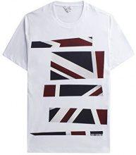 Ben Sherman Union Jack Stripe Print Tee, T-Shirt Uomo, Bianco (White 10), M