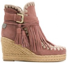 Mou - Stivaletti con zeppa - women - Cotton/Leather/Suede/rubber - 35, 36, 37, 38, 39, 41 - PINK & PURPLE
