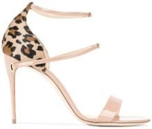 Jennifer Chamandi - Nude Leopard Rolando 105 Sandals - women - Patent Leather/Pony Fur/Leather - 35, 36, 38, 39, 40, 40.5, 41 - BROWN