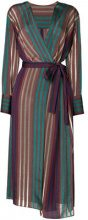 Cityshop - Vestito lungo a portafogli con motivo a righe - women - Cupro - OS - BROWN