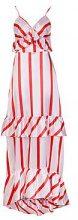 Zendaya maxi abito in raso a righe con volant