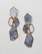 ASOS DESIGN - Orecchini pendenti con pietra effetto resina - Oro