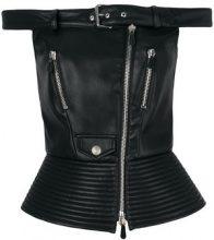 Moschino - off-centre zipped top - women - Polyurethane/Polyester/Acetate/Viscose - 40, 38, 42 - BLACK