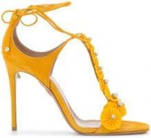 Aquazzura - Sandali con cinturino a T - women - Suede/Leather - 39, 39.5, 40, 37, 38, 38.5 - Giallo & arancio