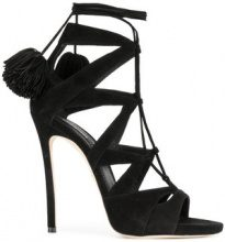 Dsquared2 - Sandali con pompon - women - Suede/Leather - 36, 37, 38, 39, 40, 41, 35 - BLACK