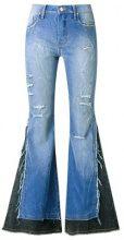 - Amapô - distressed overlay maxi flared jeans - women - Cotone/Elastodiene - 36, 38, 40, 42 - Blu