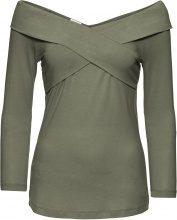 Maglia in jersey con scollo incrociato e manica a 3/4 (Verde) - BODYFLIRT