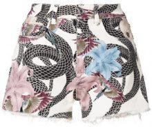 Marcelo Burlon County Of Milan - Shorts denim 'Flowers Shankes' - women - Cotone/Spandex/Elastane/Polyester - 25, 26, 29, 27, 28, 24 - Multicolore