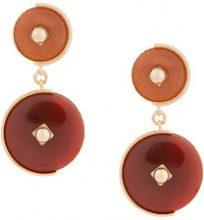 - Crystalline - Orecchini clip con pietre - women - 1/Brass/Agate - Taglia Unica - Rosso