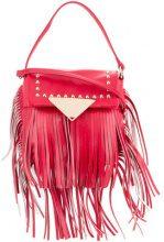 Sara Battaglia - Borsa a tracolla borchiata con frange - women - Calf Leather - One Size - RED