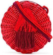 Wai Wai - tassel circle shoulder bag - women - Rattan Fibre - OS - RED