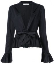 Tome - tie shirt with frills - women - Cotton - XS, S, M, L - BLACK