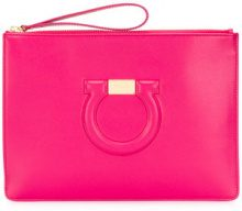 Salvatore Ferragamo - Gancio embossed clutch bag - women - Calf Leather - OS - PINK & PURPLE