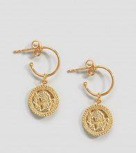 ASOS DESIGN - Orecchini a cerchio con monetine pendenti stile vintage in argento sterling placcati oro - Oro