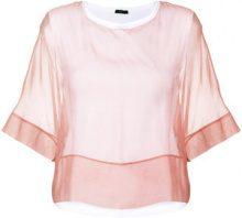 Peserico - Blusa semitrasparente - women - Silk/Cotton/Spandex/Elastane - 40, 46, 48 - PINK & PURPLE