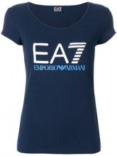 Ea7 Emporio Armani - T-shirt con logo stampato - women - Cotton/Spandex/Elastane - S - BLUE
