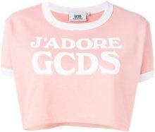 Gcds - logo cropped T-shirt - women - Cotone - M, L, XL - PINK & PURPLE
