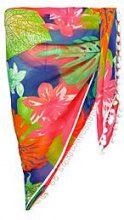 Anna sarong da spiaggia a motivo tropicale fluo con pompon