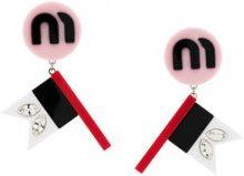 Miu Miu - Orecchini con bandiera - women - Brass/PVC - One Size - PINK & PURPLE
