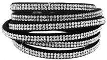 Kettenworld Bracciale in morbida ecopelle con strass decorativi in diversi colori & versioni, acciaio inossidabile, colore: schwarz/weiß 3 reihig, cod. 370682