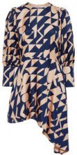 P O S T Y R Geometric Print Silk Dress Women Brown