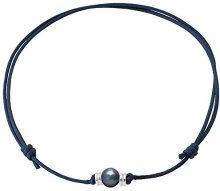 Pearls & Colors PC-CMC3 - Collana girocollo, in argento 925, perle d'acqua dolce, 35 cm, Argento, colore: blu, cod. PC-CMC30