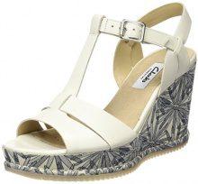 Clarks 261232264, Sandali con Zeppa Donna, Bianco (White Leather), 41.5 EU