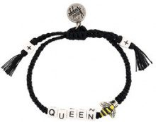 Venessa Arizaga - Braccialetto 'Queen Bee' - women - Cotton/Gunmetal Plated Brass - OS - BLACK