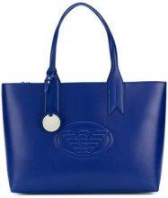 Emporio Armani - front embossed logo bag - women - Polyurethane - OS - BLUE