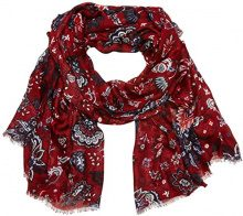 Cecil Flower Ornament Print Scarf, multicoloured (Velvet Red 30986), Taglia Unica